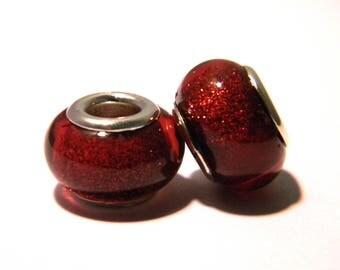 2 pearls European charms - 14 x 9 mm-Brown - Pearl European large hole - F149