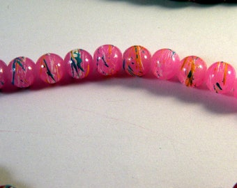 20 glass beads 8 mm drawn pink and blue PV51