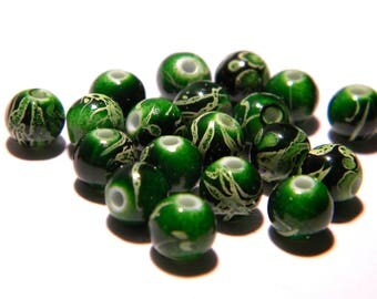 "Pearl 6 mm - Green - 30 beads ""tréfilées"" - acrylic-PG130"