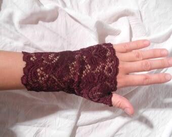 Fingerless gloves lace stretchy Burgundy short