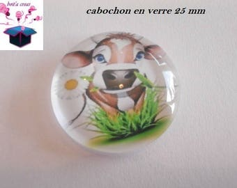 1 cabochon clear 25 mm round cow theme
