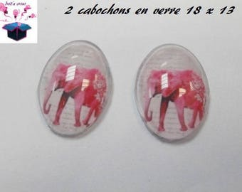 2 glass cabochons 18mm x 13mm elephant theme