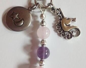 Unicorn Key Ring with Rose Quartz and Amethyst