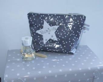 Kit toiletry bag in coated cotton Stardust customizable name