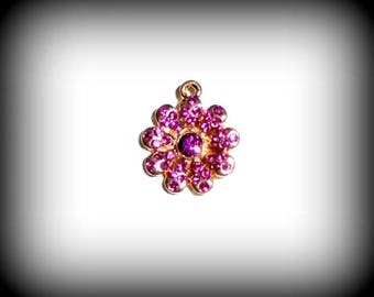 Charm Flower Pink Crystal gold plated 18 k