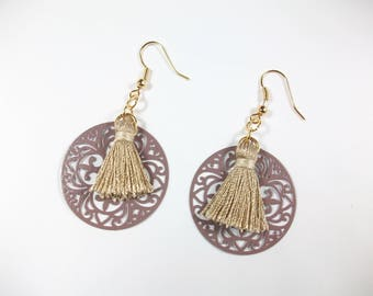 Earrings tassels, plated gold, 14 k gold filled, gift idea for woman, ethnic style, gift for her, handmade jewelry