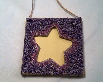 Small star beaded photo frame. 8 / 8cm metal purple and pink beads.   Gift