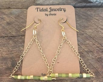 Golden Jade Trapeze Earrings / Dangle Earrings