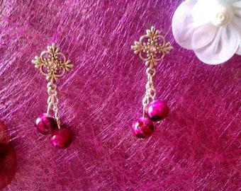 fuchsia Pearl Earrings