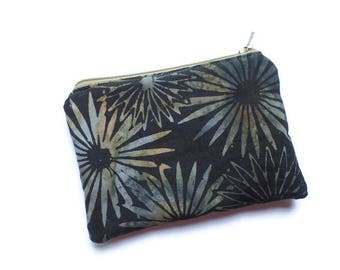 Coin Purse, Mini Bag, Card Holder, Jewelry Case, in Batik Fabric, Zippered and Lined