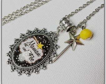 Glass cabochon necklace, MOM is a fairy, MOM, mother's day gift