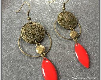 Earrings bronze, red sequins,