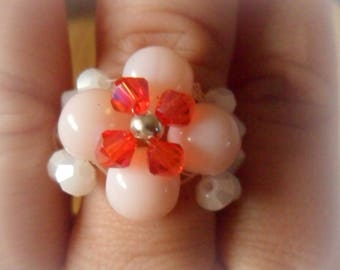 Pink, red and white woven flower ring