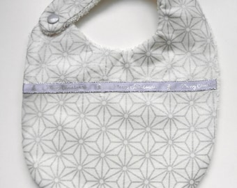 Japanese fabric Christmas bib with silver stars, Terry on the back for babies from birth to 12 months