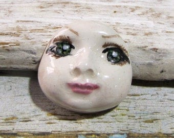 Ceramic cabochon face doll art doll for creating green eyes