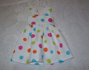 cotton print (with dots), dress for dolls 32 33 cm, compatible with the girls