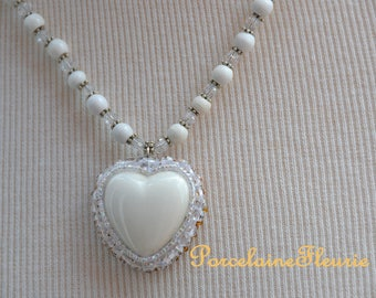 White porcelain Heart Necklace
