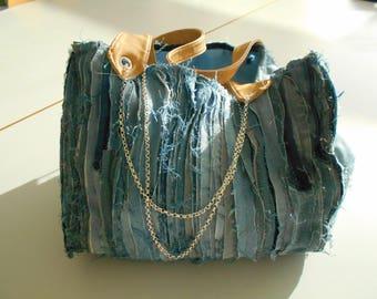 Denim and Rhinestones, recycled jeans rhinestone denim bag, tote bag