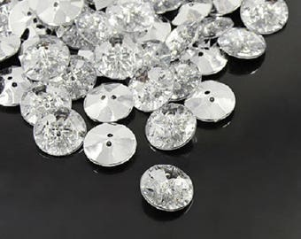 10pcs Acrylic Rhinestone Buttons, 2 Holes, Faceted & Silver Plated Rivoli Back, Flat Round, Clear, 15x4mm, Hole: 1mm