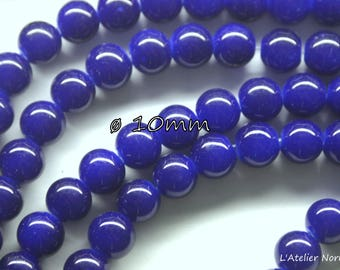 20 ø10mm color Royal blue glass round beads
