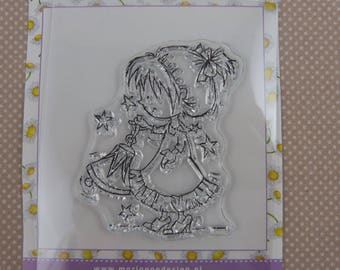 Clear, little girl in Christmas stamp
