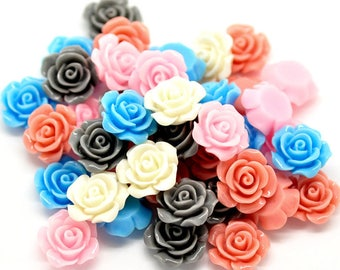 5 mixed jewelry flower 14mm x 6mm resin cameos