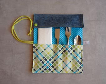 Case covered in turquoise/green recycled jean Pocket
