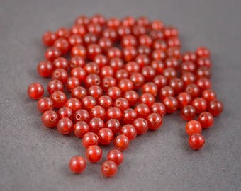 Set of 10 pcs - round beads • carnelians, agates • orange • 6mm