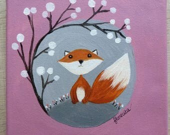 small canvas Fox under the branch