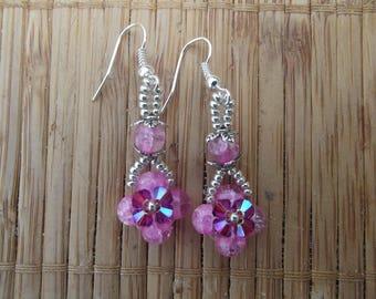 Pink earrings swarovski pearls.
