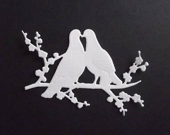 "Set of 10 white cuts ""birds"" for your scrapbooking creations."