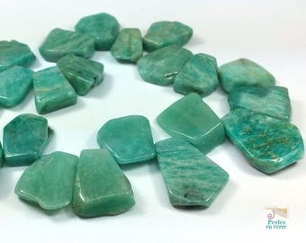 5 beads Brown green amazonite, 15-25mm petals (pg164)
