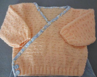 Baby girl 6 to 9 months Cardigan salmon color