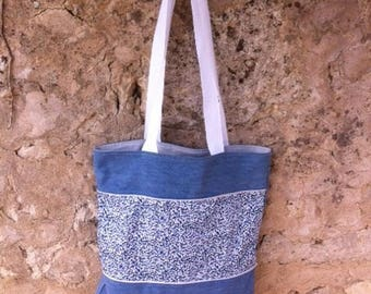 Tote bag liberty and faded Denim Blue
