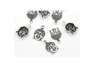 5 22mm x 15mm antiqued silver Buddha charm