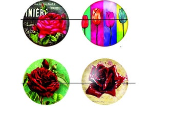 SALE 25 mm 4 nice Cabochons glass paste flowers 25 mm