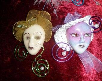 porcelain mask painted beige and pink luster