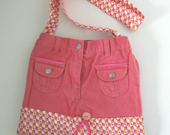 Pink recycled denim purse: women or teen