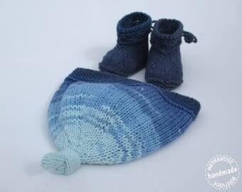 Bonnet et chaussons bébé bleu nuancé 0/2 mois