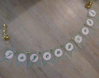 """Banner """"Joyeux Noël"""" - green stripes"""