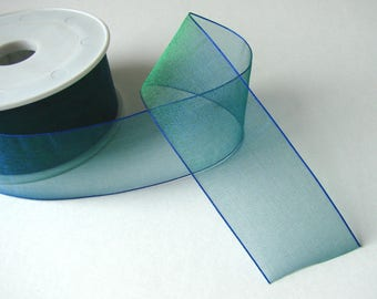 Organza Ribbon, 38 mm, blue, green, sold by the yard