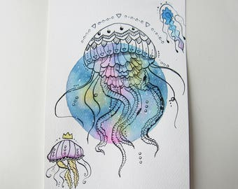 Drawing / illustration graphic jellyfish in ink and watercolor
