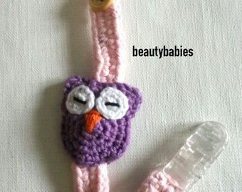 Pacifier clip small purple and pink OWL