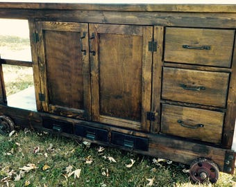Amazing solid wood Farmhouse Industrial Kitchen Island