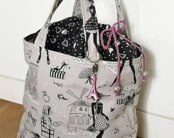 Gray and black cotton handbag
