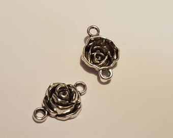 1 pink 25mm x 18mm Silver Flower connector