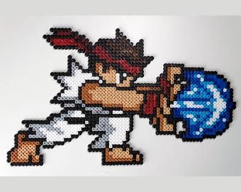Ryu Hadouken · Street Fighter Pixel Art | Games Deco | Iron Beads