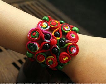 Chinese knot & Flowers Colourful Fabric Cotton Bracelets