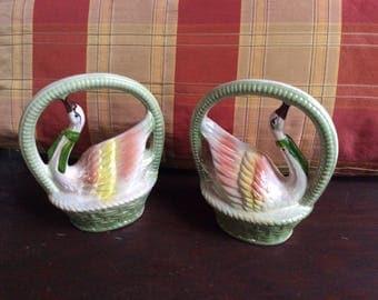 Set of 2 Porcelain Swans in Baskets