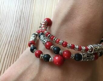 Bohemian spiral bracelet red gem